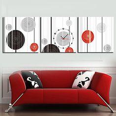 キャンバスの3pcsでモダンなスタイルのジオメトリの壁時計 - USD $ 55.99