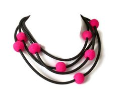 neon pink felt necklace, felt and rubber jewelry,  pink and black, vibrant colored edgy statement necklace  frankideas on etsy