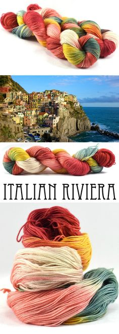 The fantastically colored buildings of the Cinque Terre are the inspiration for this colorway of dusty reds, coral, mustard, and sage. Hand-dyed, sock/fingering weight yarn for knitting, crochet, and DIY yarn crafts.