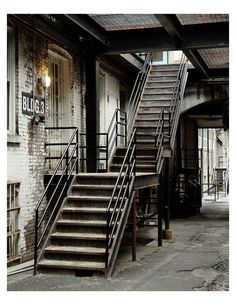 Industrial metal stairs with step lights Rustic Stairs, Industrial Stairs, Metal Stairs, Industrial Design Furniture, Industrial Architecture, Industrial Bedroom, Industrial Living, Industrial Interiors, Industrial Metal