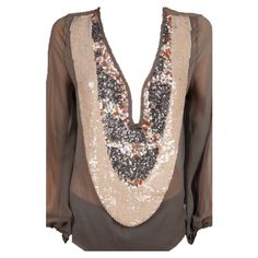 Leyendecker Turnout Blouse with Sequin Embellishment in Mink from SINGER22 $250