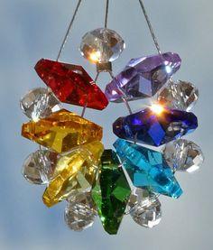 Feng Shui Chakra Wheel Sparkling Crystal Suncatcher Energy  Healing Balance power Decoration Rainbow Maker Gift Window hanger