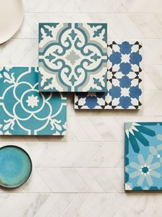 Our Old Havana Encaustic tiles are a considered mix of old school charm and breath-taking colour. Kitchen Wall Tiles, Bathroom Floor Tiles, Wall And Floor Tiles, Kitchen Flooring, Kitchen Decor, Painted Floor Tiles, Wood Wall Tiles, Flooring Tiles, Kitchen Ideas