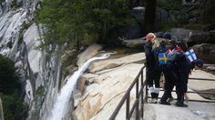 Nordic trekkers by a waterfall in Yosemite National Park, USA Yosemite National Park, National Parks, Kilimanjaro, Machu Picchu, Wonderful Places, Trekking, Alaska, Waterfall, Hiking
