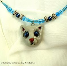 Grey kitty pendant Polymerclay cat necklace by CrumpledFantazies