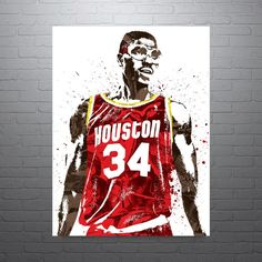 Hakeem Olajuwon Houston Rockets Poster