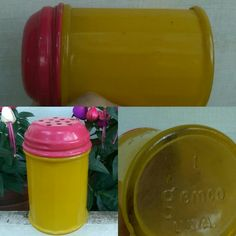 "Glow-y, inside-enameled-yellow-on-clear, glass shaker with vivid pink enameled metal top. No filters on these pictures! Hails from the ""Pantry Pops"" line of tableware from Gemco, subtitled, ""Granny's Turned-on Glassware(!!!). Uncommon. Most people say it's from the 70's; would love to find out more. Can see this why it wouldn't do well in the avocado, brown, and orange, ""country-style"" era. Ahead of its time! Wanna fill it with cake sprinkles😺"