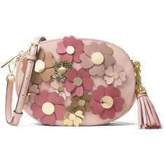 Michael Michael Kors Ginny Medium Floral Messenger Bag (19,175 INR) ❤ liked on Polyvore featuring bags, messenger bags, pink, genuine leather messenger bag, snap bag, zip top bag and leather bags