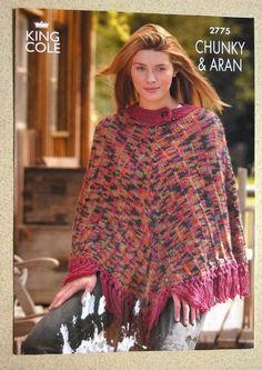 Ponchos King Cole 2775 Knitting Pattern Leaflet Lady s Chunky & Aran King Cole, Vintage Knitting, Knitting Patterns, Lady, Crochet, Ponchos, Knitting Paterns, Cable Knitting Patterns, Knit Crochet
