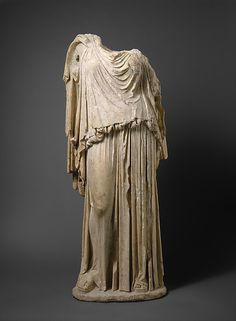 """""""Marble statue of Eirene (the personification of peace)"""" (ca. 14-68 CE), Roman copy of Greek original by Kephisodotos. Roman, early Imperial/Julio-Claudian period. Posted on metmusem.org."""
