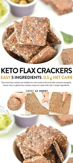 Flaxseed Crackers keto + vegan g net carbs - Sweetashoney KETO FLAX CRACKERS easy healthy flaxseed gluten free crackers recipe, vegan, low carb carb recipes breakfast Low Carb Crackers, Gluten Free Crackers, Keto Crackers Recipe, Healthy Crackers, Low Carb Wraps, Keto Vegan, Vegan Gluten Free, Dairy Free, Vegan Keto Recipes