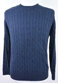 Brooks Brothers M Medium Pima Cotton Navy Blue Knit Crewneck Sweater Mens #57 #BrooksBrothers #Crewneck