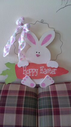Easter Bunny Door Hanger by thedomesticgoddess30 on Etsy, $24.95