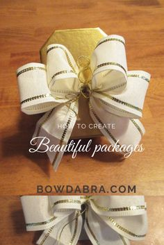 How to use a Bowdabra bow for a simple elegant gift - Bow Making Tutorials Diy Holiday Gifts, Easy Diy Gifts, Homemade Gifts, Bow Making Tutorials, Craft Tutorials, How To Make Hair, How To Make Bows, Wedding Crafts, Diy Wedding