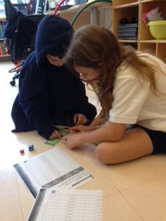 Students playing math games.