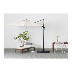 SEGLARÖ / SVARTÖ Hanging umbrella with base, tilting beige, dark gray