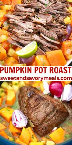 Pumpkin Pot Roast is made with tender beef, pumpkin, and pineapple, all cooked to perfection in a blend of fall flavors. #pumpkin #potroast #sweetandsavory meals