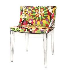 Accent Chair with Floral Patterned Fabric Seat and Transparent Legs