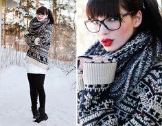 Johanna Vikman Black Tights, Chanel My New Glasses, Knitted Sweater, Denim Skirt