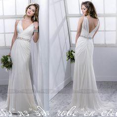 Custom Size 4-6-8-10-12-14++ White/Ivory Bridal Gown Beach Chiffon Wedding Dress #Handmade #WeddingBridesmaidDresses $139.99
