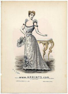 L'Art et la Mode 1891 N°47 Complete magazine with colored fashion engraving by Marie de Solar, Evening Dress — magazine de collection