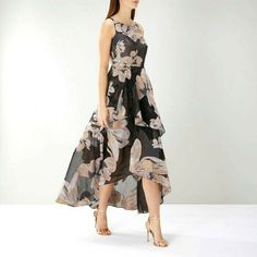 Coast Black Midi Party Dress Jacquard Maria Floral Organza Cocktail 6 to 10 New #Coast #BallGown #PartyCocktail