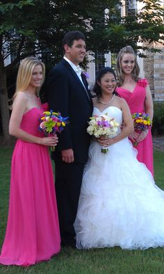 colorful bridesmaid bouquet and purple orchids and white roses for bride by www.CreationsbyDebbie.net