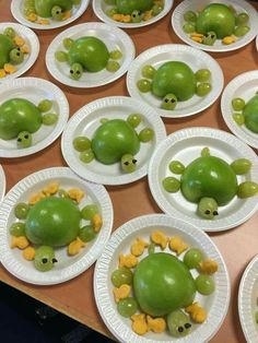 Apple/grape turtles for snack. Healthy and helps teach colors. :)
