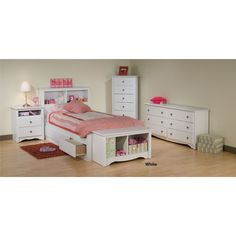 Free Shipping with Discount Prices on this Monterey Girls Bedroom Set-White-Prepac Furniture