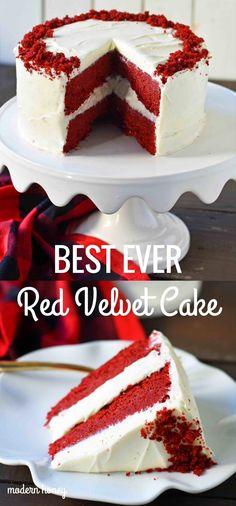 The best red velvet cake recipe ever. Moist and tender red velv. The best red velvet cake recipe ever. Moist and tender red velvet cake with sweet cream cheese frosting. The perfect red velvet cake . Perfect Red Velvet Cake Recipe, Homemade Red Velvet Cake, Best Red Velvet Cake, Red Velvet Recipes, Red Velvet Cupcakes, Red Velvet Cheesecake Cake, Red Velvet Cake Moist, Red Velvet Cake Frosting, Red Velvet Cake Recipe With Cream Cheese Frosting