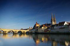 The bridge over the danube river into Ingolstadt