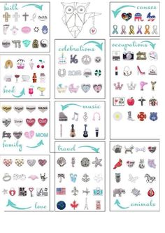"Origami Owl charms Personalize yours Locket today! ORDER BY CLICKING ON PHOTO 1) Click ""Sign in to My Account"" 2) Create Account 3) Happy Shopping! Designer #16516 JOIN MY TEAM! Host a party :-) Join the fun!"