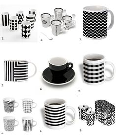 Black and White Cups -  Mugs