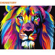 Rahmenlose bunte löwe tiere abstrakte malerei diy digitale paintng by zahlen moderne wandkunst bild für home wand kunstwerk
