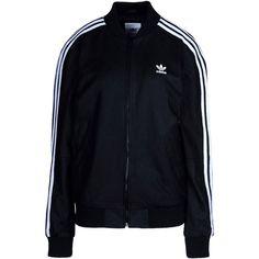 Adidas Originals Jacket (€440) ❤ liked on Polyvore featuring outerwear, jackets, tops, black, adidas, multi pocket jacket, lamb leather jacket, single breasted jacket, zip jacket and zipper jacket
