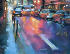 This rainy nighttime scene in Paris provides the perfect opportunity to learn how to select, blend, and layer color in pastel. Join artist Desmond O'Hagan as he guides you through the painting process step-by-step!  #pastelpainting #paintingnight #paintinglights