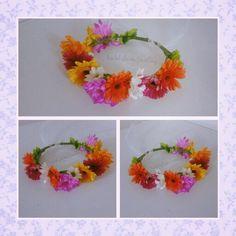 Fresh flower crown by bridal flower jewellery using gerberas and chrysanthemum  www.bridalflowerjewellery.weebly.com