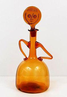 Erik Höglund; Glass Decanter for Kosta Boda, c1950.