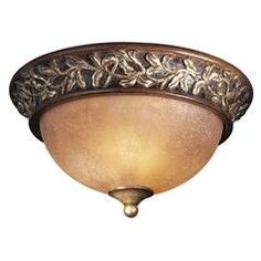 Flushmount Light with Beige / Cream Glass in Florence Patina Finish