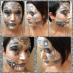 R2D2 makeup I did on myself #r2d2 #makeup #r2d2makeup
