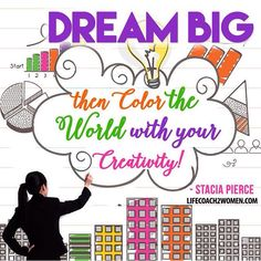 Happy happy Friday! Dream Big, then color the world with your creativity! Nobody else can occupy your place, you have a unique calling, so go after your dreams and go big! #quote #funfriday #dreambig #goforit #creativity #womeninbiz #businesswomen #lifecoach2women #lifecoach #successquote
