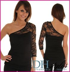 Black Jersey and Lace Ruched One Shoulder Top