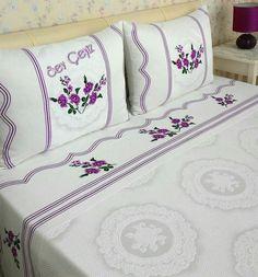 Kanaviçeli Pike Takımı Bed Pillows, Pillow Cases, Bedding, Home, Towels, Yurts, Blue Prints, Wedding Ideas, Embroidery