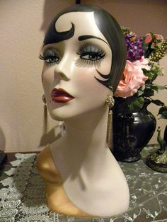 Vintage Style Art Deco Flapper 17 Mannequin Head/ by sharonsherrod, $199.99
