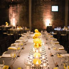 Modern Yellow and Gray Patterned Tablescapes