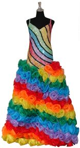 Long Patterned Gown with Rainbow flowers and Custom Sequins Worst Prom Dresses, Ugly Dresses, Ugly Outfits, Flower Dresses, Crazy Dresses, Wedding Dresses, Under The Rainbow, Taste The Rainbow, Rainbow Things