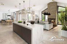 Nevada - Dobre Domy Flak & Abramowicz Kitchen Cabinet Design, Kitchen Cabinets, Devon House, Nevada, Kitchen Island, Living Room, Home Decor, Prefab Homes, Interiors