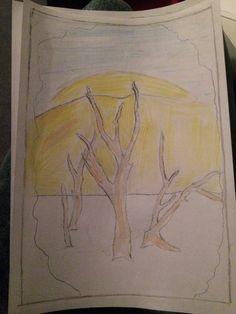 Hierbij zie je op de achtergrond de zon achter een heuvel staan. Hiervoor staan dode bomen. Hiermee wil ik de woestijn laten zien, dat als we niks doen, de wereld en zo uit gaat zien. Dit wil ik in het boek aanbrengen door van achter naar voor te werken en zo op veel bladzijdes iets neer te zetten.