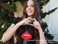 Brown Bag Red Lips Pendant by Savannah Starr