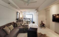 13 SMALL Homes so beautiful you won't believe they're HDB flats Minimalist House Design, Small House Design, Small Space Living, Living Spaces, Living Rooms, Living Area, Small Spaces, White Brick Walls, Scandinavian Living